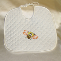 Babies embroidered honeybee bib