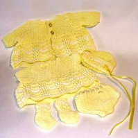 Dolls layette set yellow  and white