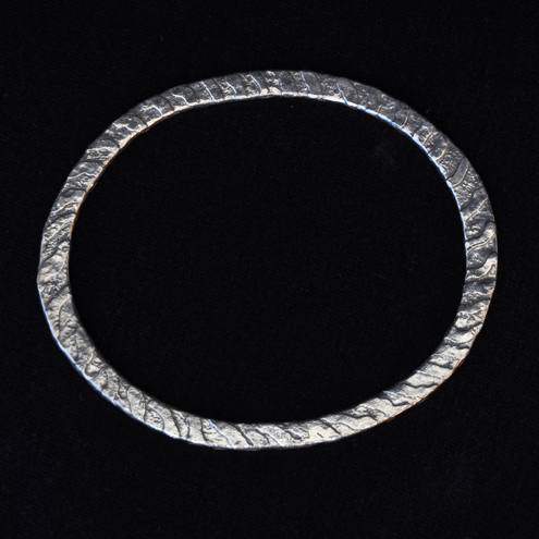 Etched  Silver Bangle