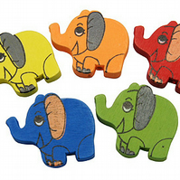 10 Pretty wooden Ellies in assorted colours