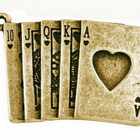 4 Antique Bronze Royal Flush Card Charm