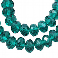 6mm Emerald Faceted Glass Rondel