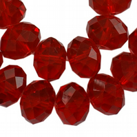 8mm Bright Red Faceted Rondel Beads