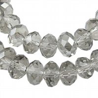8mm Smokey Faceted Rondel Beads