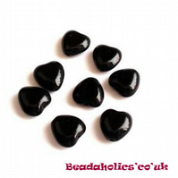 20 x Black Glass hearts