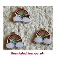 3 pretty Rainbow Enameled Charms