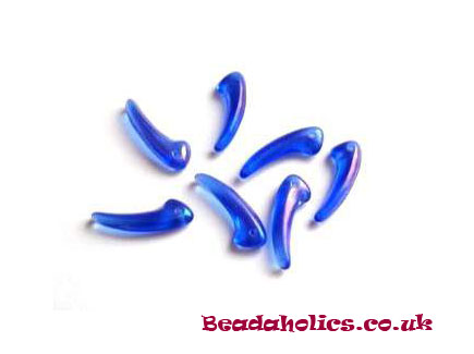 60 x Ab Royal Blue Teeth Beads