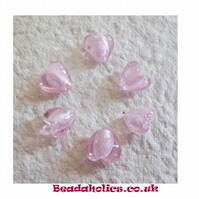 10 Silver Lined Pink Hearts