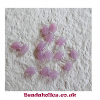 20 Sweet little Oval beads in Transparent stripy pink