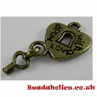 20 sweet Antique Bronze Lock Charms