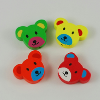 20 Teddy Heads in assorted colours