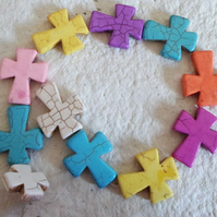 Strand of Synthetic howlite Cross's