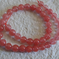 Strand of 8mm Faux Cherry Quartz Beads