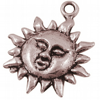 10 Red Copper Coloured Sun Charms