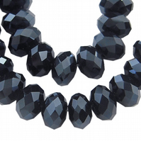 Strand of 8mm Black Faceted Abacus Beads