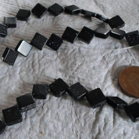 Strand of lovely Blue Goldstone flat Diamond shapped beads