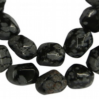 Strand of Snowflake Obsidian nuggets