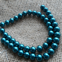 50 x 8mm Teal Glass Pearl Beads