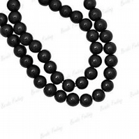 150 X 4mm Black  Glass Pearl Beads