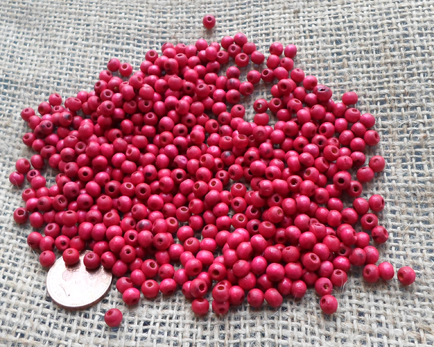 20 Gram of 5mm wooden Red Beads