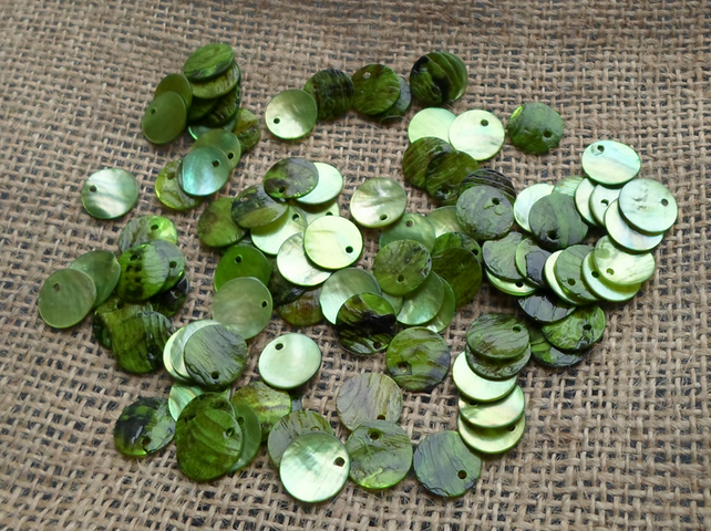 Pack of 100  12mm Green Shell Discs
