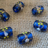 10 x Indian Glass Royal Blue Wedding cake Tube Beads