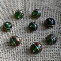 10 x Indian Glass 12mm Round Emerald Beads
