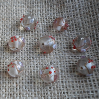 10 x Indian Glass Round Beads in clear with bump patterns