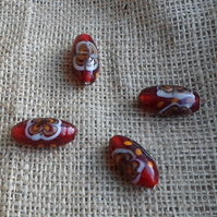 4 x Fab Glass Torpedo Beads