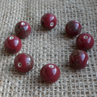 10 lovely Maroon Indian Glass beads