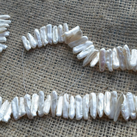 "16"" Strand of Ivory stick pearls"