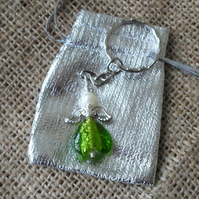 Angel Charm Keyring In Green
