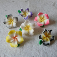 10 Sweet Polymer Clay Flower beads