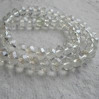 6mm Clear Faceted Glass Rondels