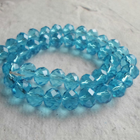 10mm Aqua Faceted Rondel Glass Beads