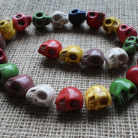 Strand of multi coloured Candy Skulls