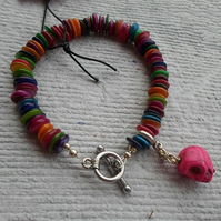 SALE - Multi coloured shell bracelet with Pink Skull Charm