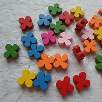 Pack of 100 Wooden flower beads