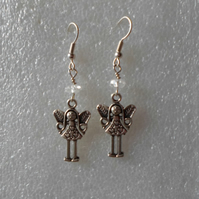 Girl Earrings. Tibetan Style Antique Silver Charms