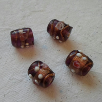 Pack of 10 Venetian Style Glass Beads in Amethyst