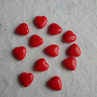 30 Czech Glass Red heart Beads