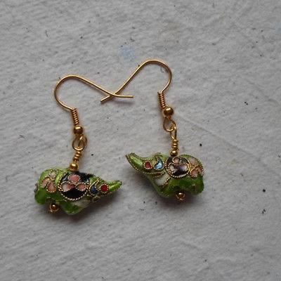 Pair of Cloisonné Ellie Earrings in Lime