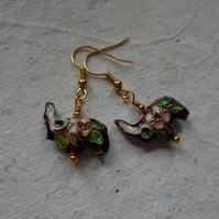 Pair of Cloisonné Ellie Earrings in Maroon