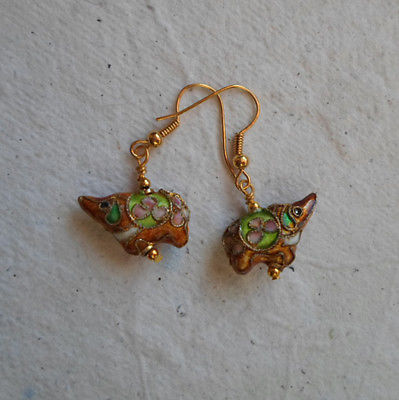Pair of Cloisonné Ellie Earrings in Burnt Oragne