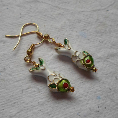 Pair of Cloisonné Fish Earrings in White