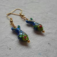Pair of Cloisonné Fish Earrings in Blue