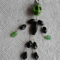 Handmade Green and Black Dancing Skeleton Charm