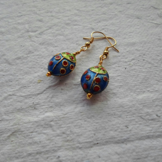 Pair of Cloisonné Ladybug Earrings in Royal Blue