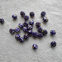 Pack of 50 x 10mm Spotty Purple Beads