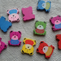 Pack of 20 x Wooden Teddy Beads